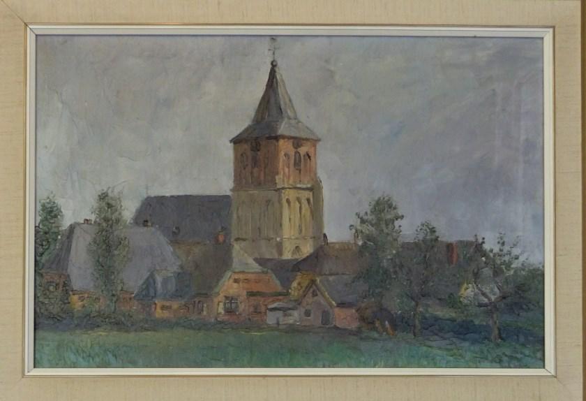 Gezicht op de Martinuskerk oud-Zevenaar in 1947.