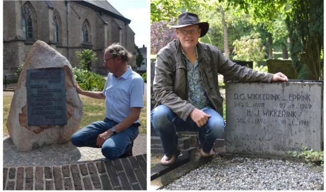 Jan Wikkerink bij het monument Dick Wikkerink bij het graf van Ome Jan. Foto: Karin Stronks  © Persgroep