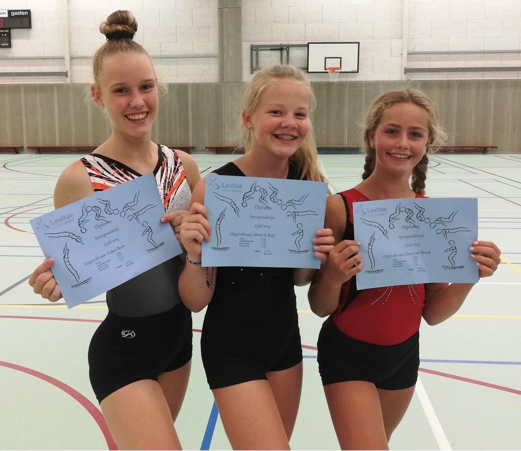 Een vrolijk DOS-trio met de diploma's van de springwedstrijd. Het zijn Esther Beets, Marit de Boef en Demy van Brenk. Foto: Hilde van Noort © Persgroep