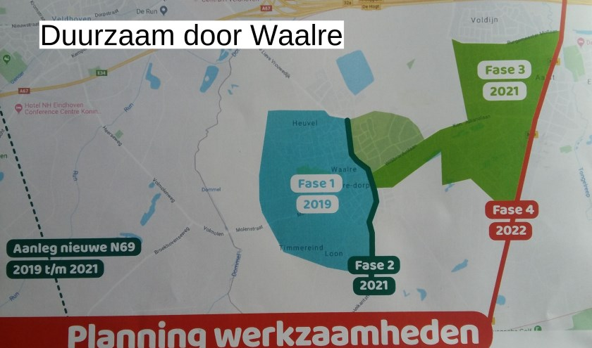 Fase 1: maatregelen sluipverkeer Waalre-Dorp. Fase 2: Traverse. Fase 3: maatregelen sluipverkeer Aalst. Fase 4: Eindhovenseweg