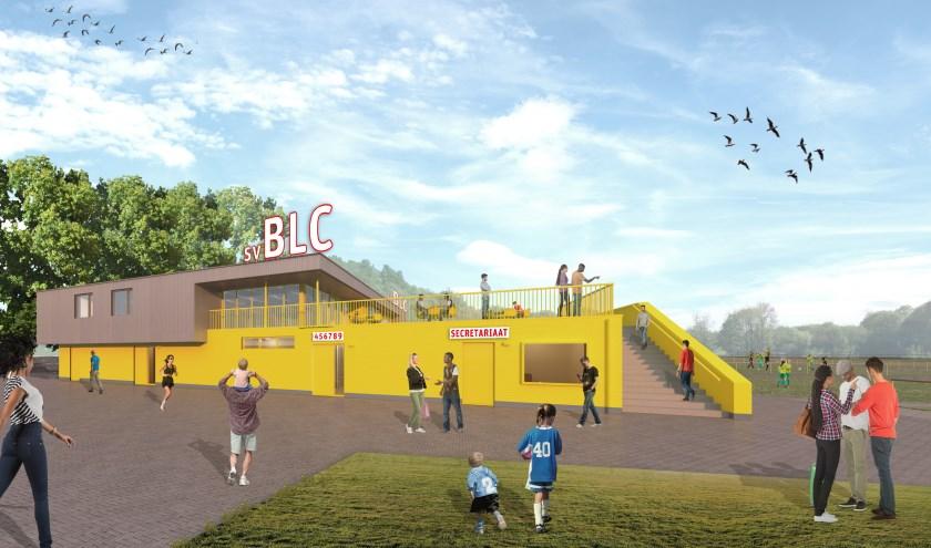 Impressie van de vernieuwbouw bij sv BLC.  Artist Impression door BiermanHenket Architecten.