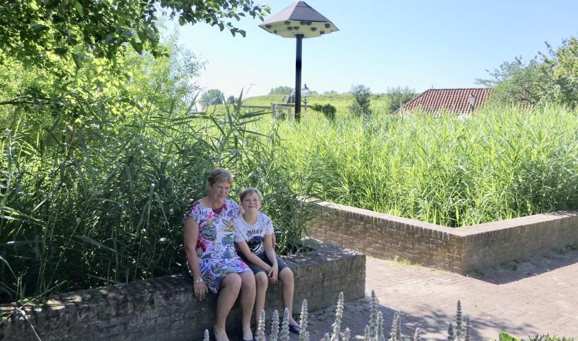 Diny Kouwenberg en haar kleinzoon bij de huiszwaluwtil in Heemtuin De Meulenwerf die vernoemd is naar haar overleden man Henk.