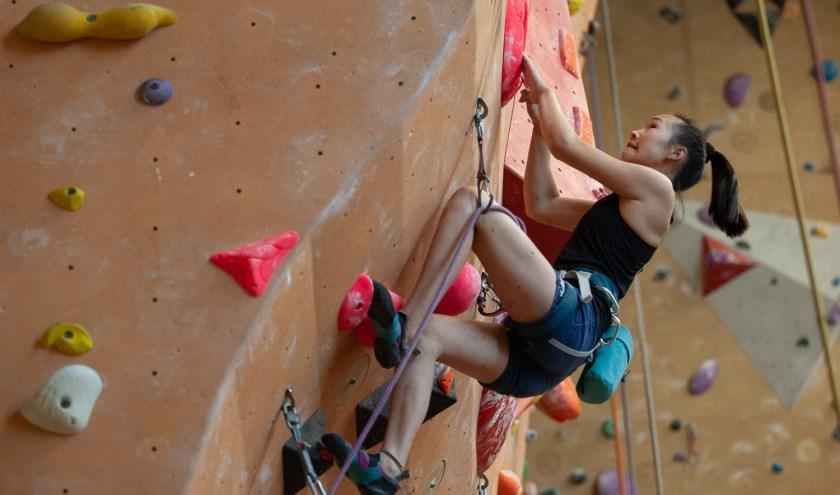 Li San Boorsma maakte het de klimmers die boven haar stonden nog knap lastig, maar ze kwam net te kort voor een podiumplek.