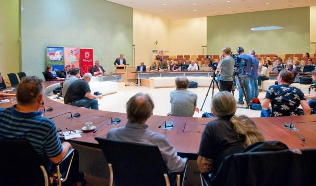 Zoals elk jaar was er weer heel wat pers bijeen voor de traditionele persconferentie voorafgaand aan de Vierdaagse. (Foto: Maaike van Helmond) Foto:  © Persgroep