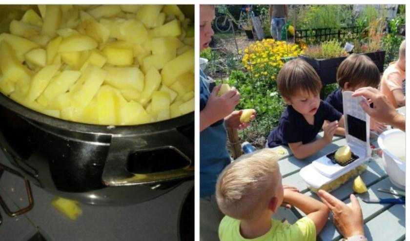 Lekker patatjes eten van de aardappelen uit de kindermoestuin.
