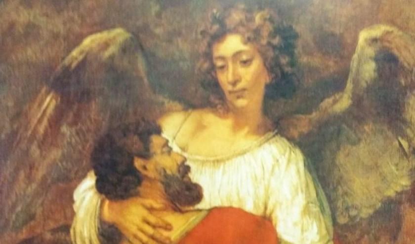 Het gevecht van Jacob met de engel is een van de schilderijen van Rembrandt die Mirjam van den Hoek heeft uitgekozen om in verband te brengen met muziek over dit verhaal.