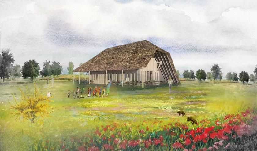 Van de Heemkundekring Dongen wordt een compleet oud spant van een Vlaamse schuur overgenomen dat de basis gaat vormen voor de nieuw te bouwen multifunctionele ruimte. foto: NBArchitecten