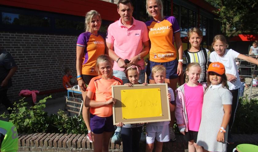 Vol trots wordt het bedrag van 2213,46 euro getoond dat de wereldreis op de basisschool de Wereldboom opleverde