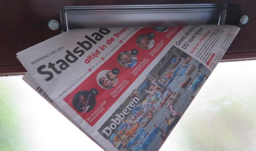 Voor het ontvangen van o.a. De Brug en Het Stadsblad wil de gemeente dat inwoners een sticker nemen. Foto: Paul Hustinx