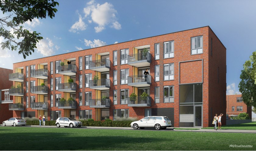 Eenimpressievan de appartementen aan de Lage Bothofstraat die door De Woonplaats zijn ontwikkeld.