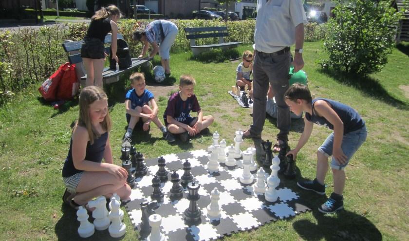 Pleinschaakspel in de Vlindertuin