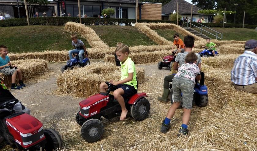 Er was genoeg te doen op de Maas en Waalse Oogstfeesten van jong tot oud., Deze jonge boertjes in de dop hadden het geweldig naar hun zin met een wedstrijdje tractorrace.