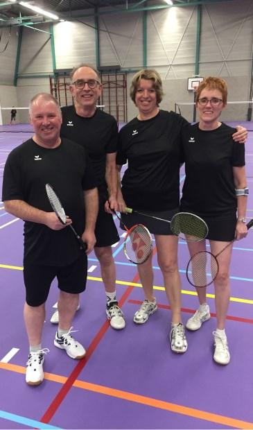 BCL-M2/SportPoint Gemert in de basisbezetting met (vlnr.) Jos Kluijtmans, Martijn Junggeburth, Ingrid Bergé en Ida van de Lockant  | Fotonummer: 1a2518