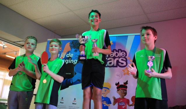 Jeugdkampioen Eki samen met andere jeugdspelers     Fotonummer: 74b030