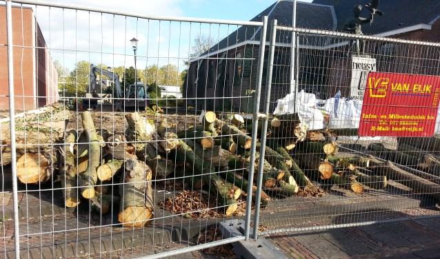Bomen, stenen en struiken worden verwijderd voor de herinrichting  van het Mausoleum. | Foto: CvdS.
