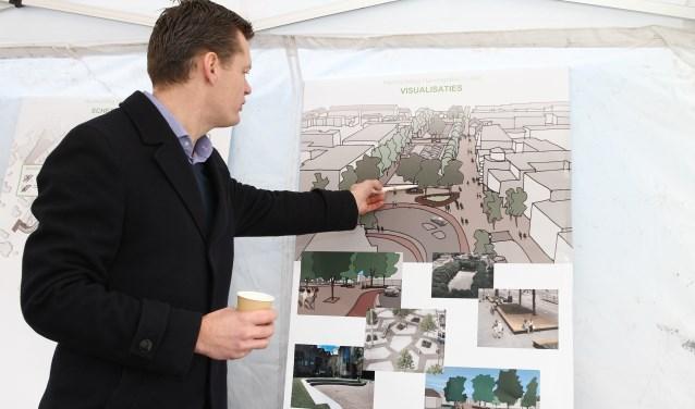 Wethouder Evert Jan Nieuwenhuis begin 2016 bij de presentatie van de plannen voor het Havengebied.