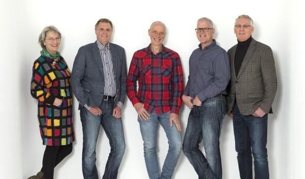 Vlnr: Loes Dockheer, Dolf Kistemaker, Guus Mesman, Richard van der Wiel, Mart van der Vlugt.