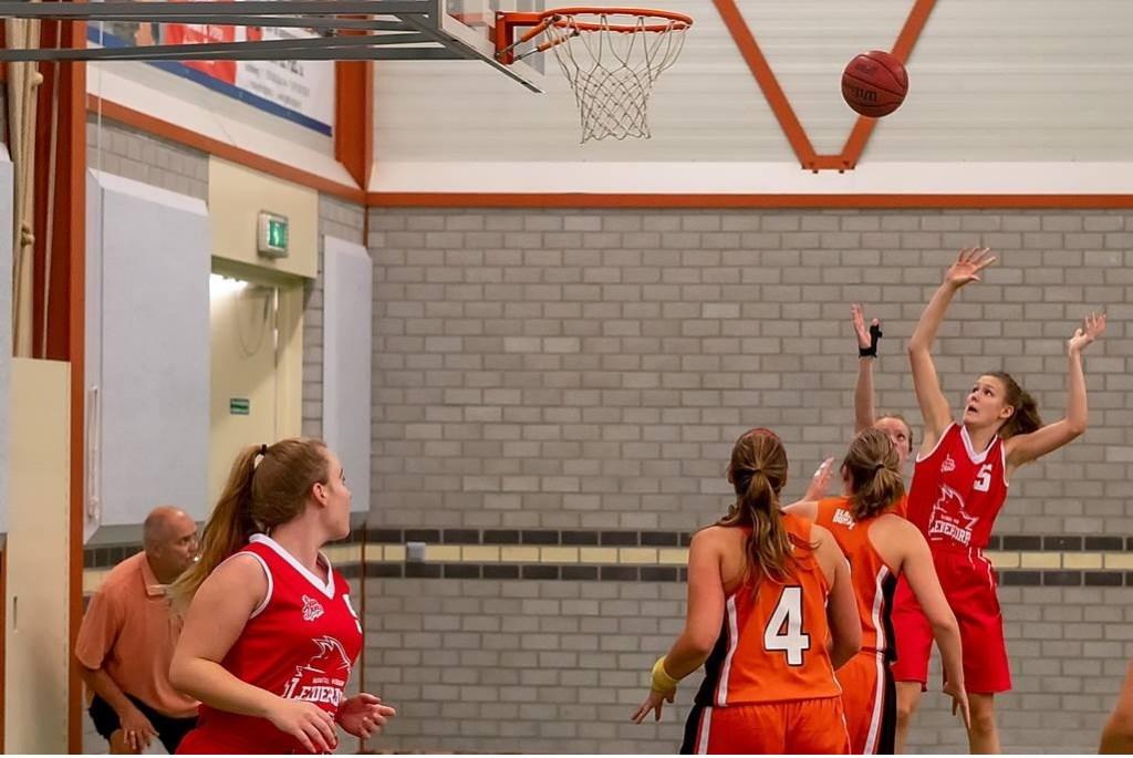 Sterre Kruijsen waagt een schot op de basket van Forwodians.  Foto: Johan Kranenburg © uitgeverij Verhagen