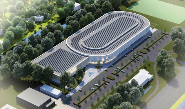 Het ontwerp voor de beoogde 333 meter grote ijsbaan in Leiden.