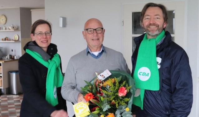 Jan Abbink kreeg bezoek van fractieleden Medea Hempen en Huibrecht Bos.