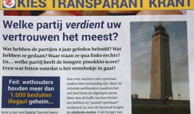 De Kies Transparant Krant veroorzaakte een heftige reactie van het nog zittende college.   Foto: Wim Siemerink