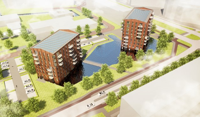 Artist Impression van de appartementengebouwen 'De Ridder' en 'De Jonker'.