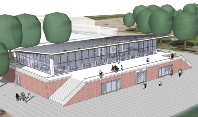 Een artists impression van het nieuwe clubgebouw van RCL.