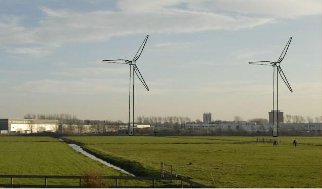 Impressie van de windturbines zoals Akzo ze wil neerzetten bij het bedrijf in Teylingen.