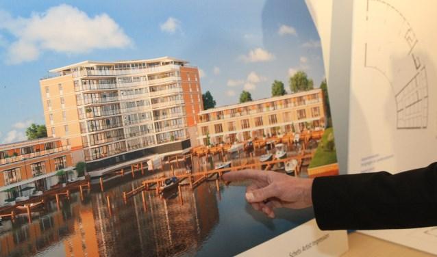 Bekeken wordt of een halfverdiepte parkeergarage kan zorgen voor een minder hoog appartementencomplex.