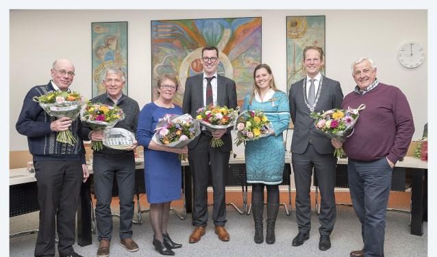 Theo Adamse, Marcel Sanders, Jeanne Ruigrok-Schoorl, Wilfried de Goeij, Annemieke van Dijk, Arie van Erk en Frank Vrijburg.