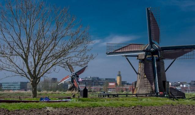 De molens in de Leiderdorpse Munnikkenpolder. | Foto: J.P. Kranenburg