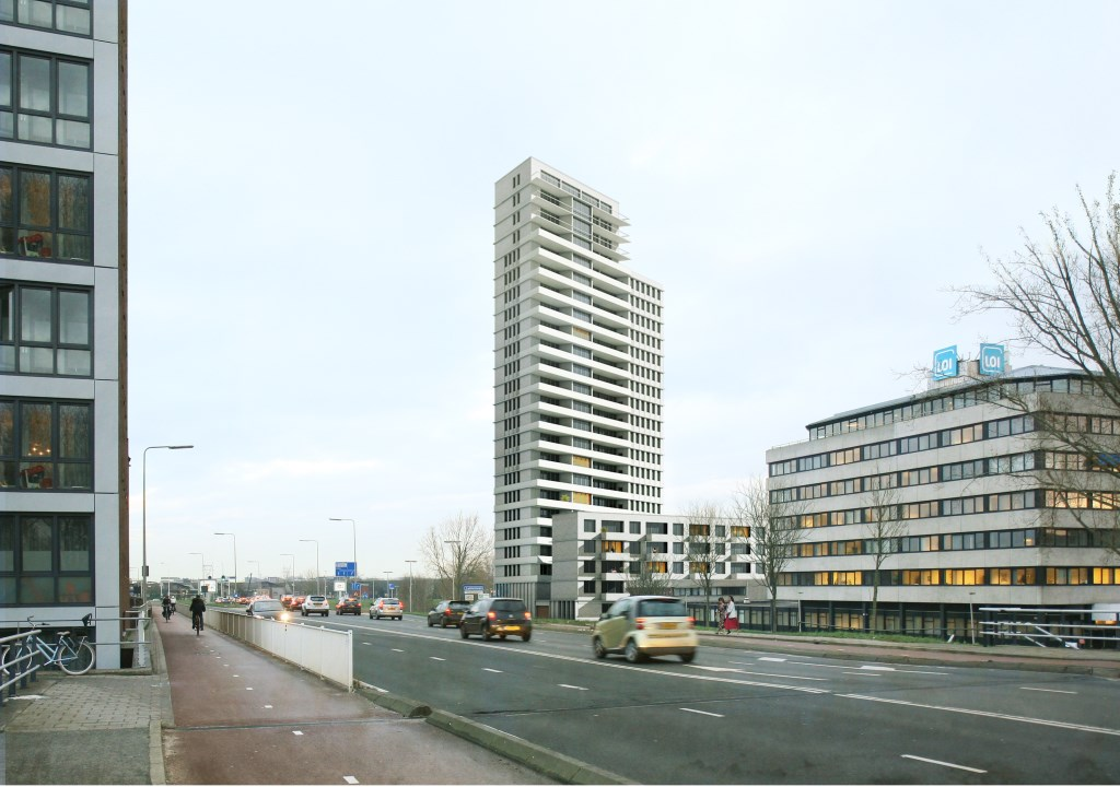 Een impressie van de toekomstige woontoren, gezien vanaf de Zijlbrug.  Foto: PR © uitgeverij Verhagen