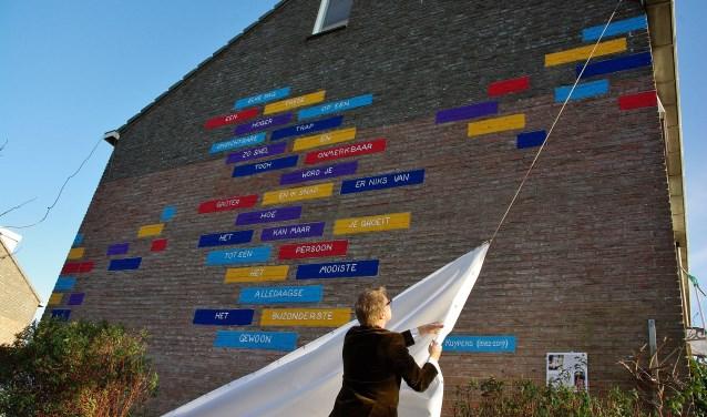 'Muureigenaar' Hilmar Leujes onthulde het gedicht aan de Jan Wolkerslaan. | Foto Willemien Timmers