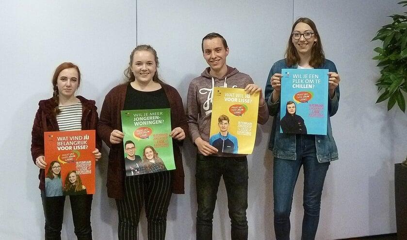 Vier van de twaalf jongeren die al actief hebben nagedacht over wat zij belangrijk vinden in Lisse.