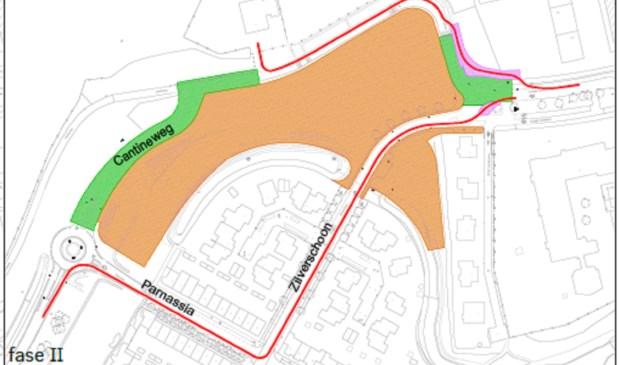 Verkeer wordt de komende weken vanaf de Westerbaan omgeleid via Parnassia en Zilverschoon.   Kaartje: Gemeente Katwijk