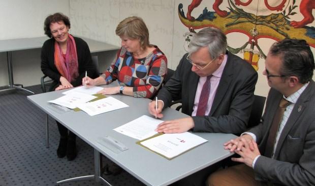 Ondertekening van de overeenkomst.