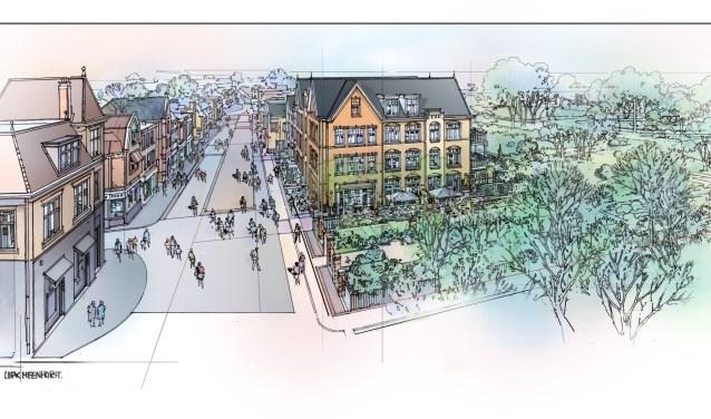 Het ontwerp voor de nieuwbouw op de plek van Villa Rusthoff. | Foto: pr.