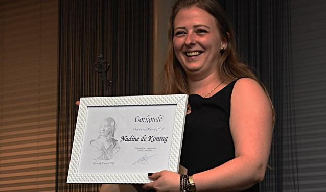 Nadine de Koning werd uitgeroepen tot Vrouwe van Katwijk 2019. | Foto: Piet van kampen