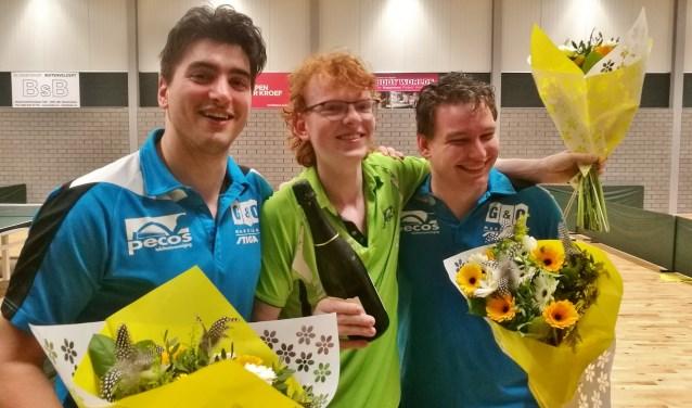 De kampioenen van Pecos 1: Tony Nader, Jens Wiersma en Kristijan Plesnik.