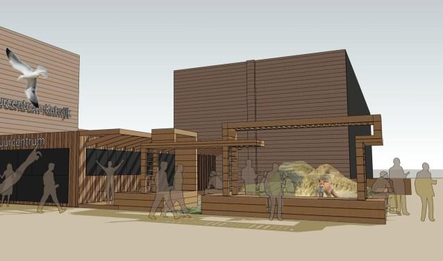 Met een nieuwe (voorzet)gevel wordt het Natuurcentrum fraaier. | Ontwerp en impressie: Katwijkse Architectencombinatie.