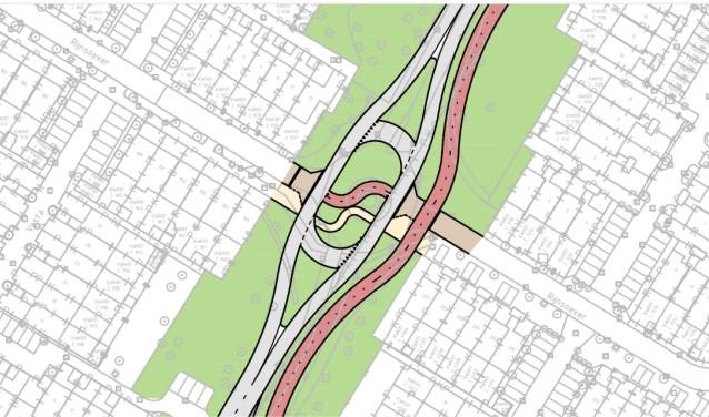 De beoogde nieuwe situatie, waar nu nog de rotonde Biltlaan-Rijnsoever is.