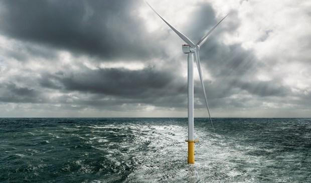 Prototype van de nieuwe generatie windmolens die voor de Katwijkse kust komen te staan.