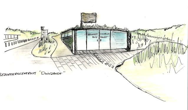 Een artist impression van het pop-up bezoekerscentrum Nationaal Park Hollandse Duinen.   Afb. PR