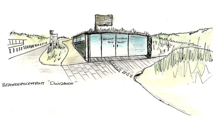 Een artist impression van het pop-up bezoekerscentrum Nationaal Park Hollandse Duinen. | Afb. PR
