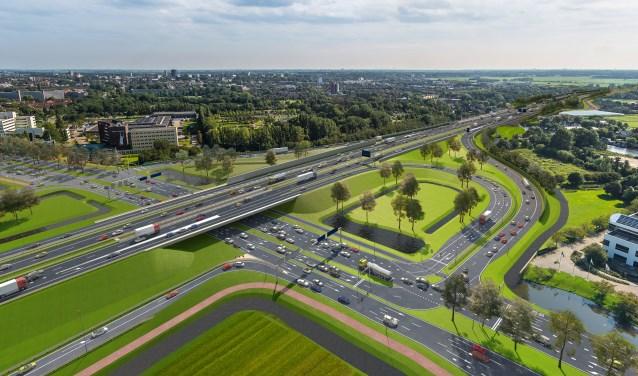 Een impressie van de tijdelijke oplossing bij Leiden-West om het verkeer tijdens de werkzaamheden voor de Rijnlandroute door te laten stromen.   Foto: pr