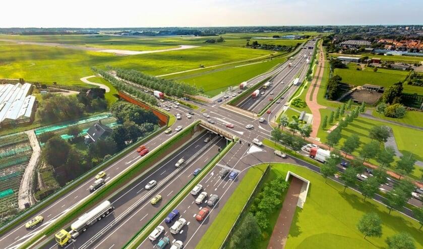 De getoonde impressie van de toekomstige Tjalmaweg, waarop de dubbele busbaan aan de linkerkant van die weg nog ontbreekt.