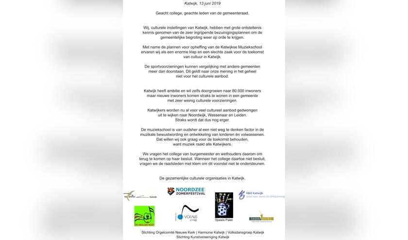 Met dit pamflet roepen culturele organisaties in Katwijk op tot behoud van de muziekschool.