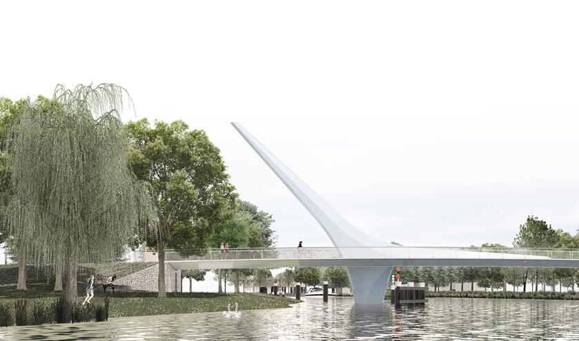 Het ontwerp van de fietsbrug tussen Valkenburg en Oegstgeest.