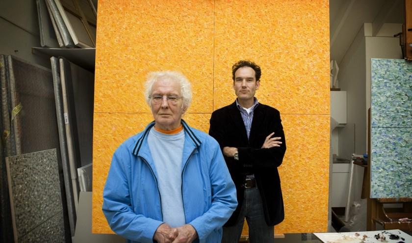 Jan Wolkers en Onno Blom voor 'het grote gele doek'   Foto Tessa Posthuma de Boer