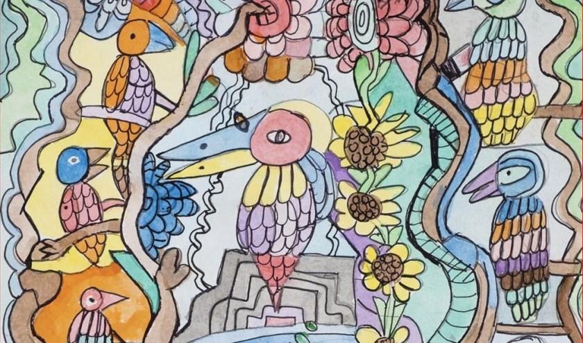 Een deel van het kunstwerk 'Paradijsvogel' van genomineerde Ron.